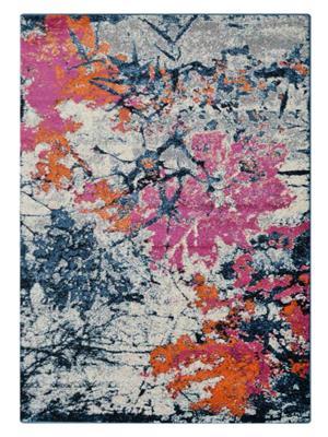 Machine Woven Polypropylene Floral Area Rug