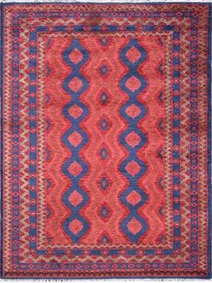 Afghan Wool & Silk Rectangle Rug