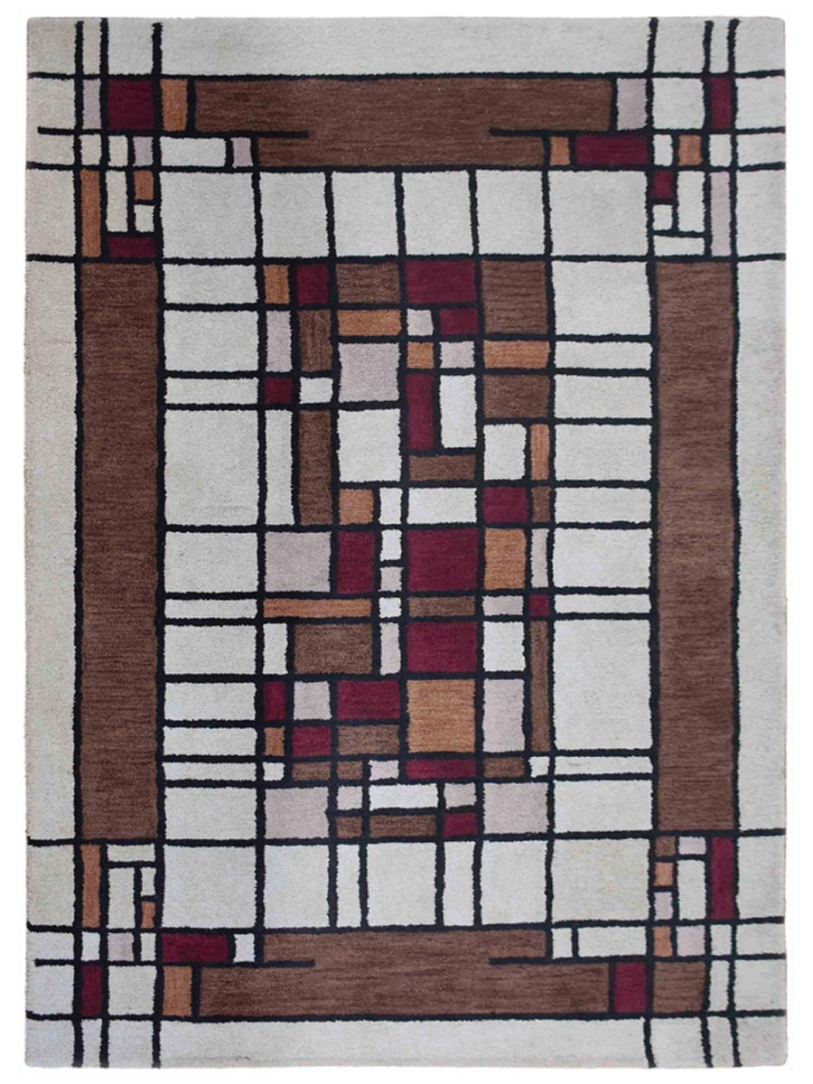 Hand Tufted Wool 5x8 Rectangle Area Rug Contemporary Cream Brown