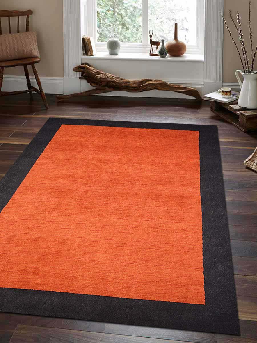 Hand Knotted Loom Woolen Rug Orange Black L00201 Online Getmyrugs