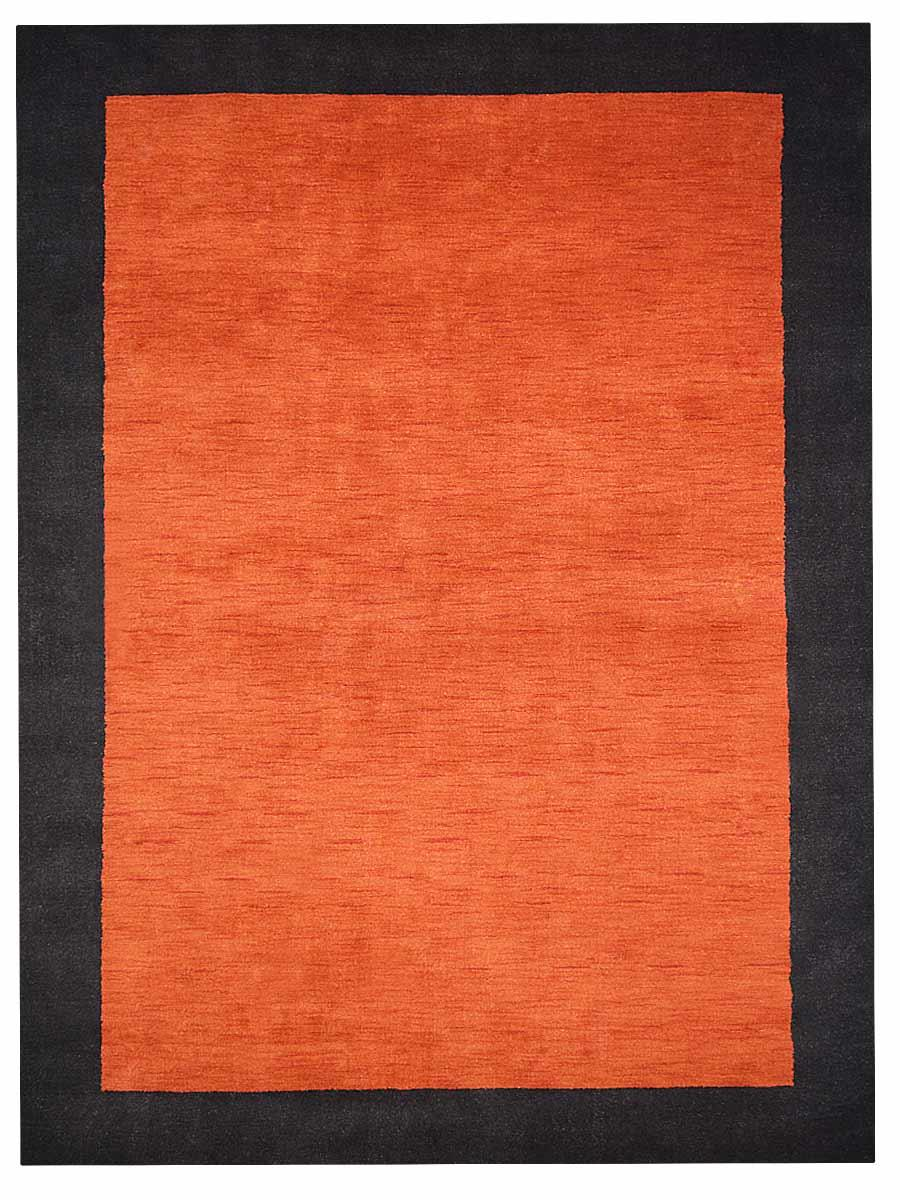 Hand Knotted Gabbeh Wool 67x910 Area Rug Solid Orange Black L00201 Online Getmyrugs