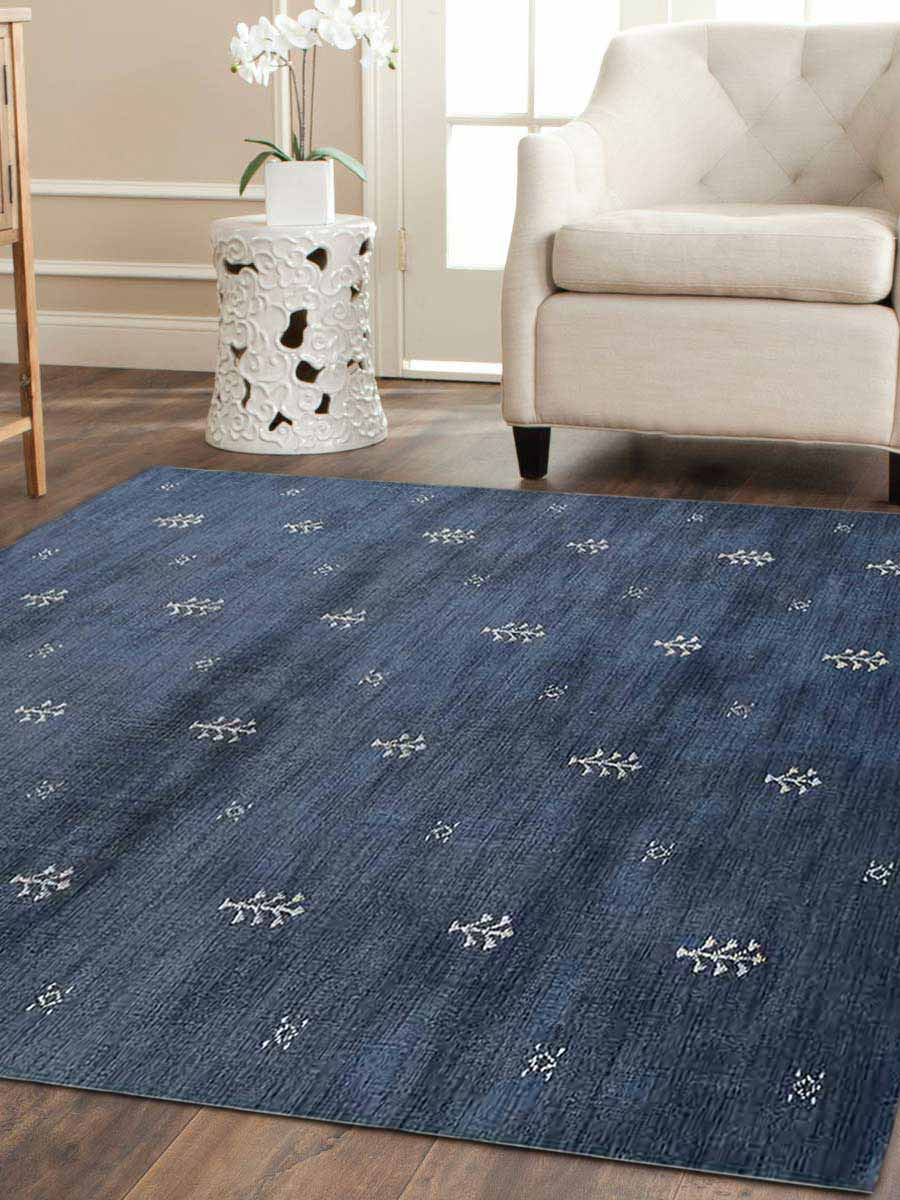 Hand Knotted Gabbeh Wool Square Area Rug Contemporary Blue