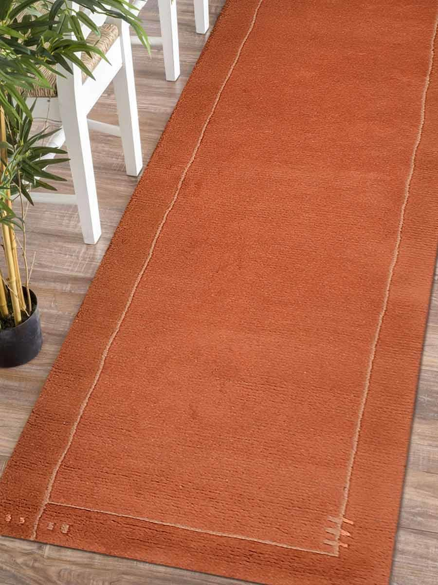 Jpg 1 Eut205orangeg Runner Orange Contemporary Handknottedtibbati Wool Rug 2 433x