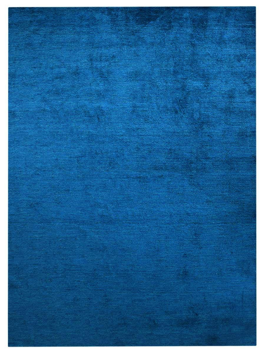 Buy Hand Knotted Gabbeh Silk Area Rug Solid Blue Ls0111