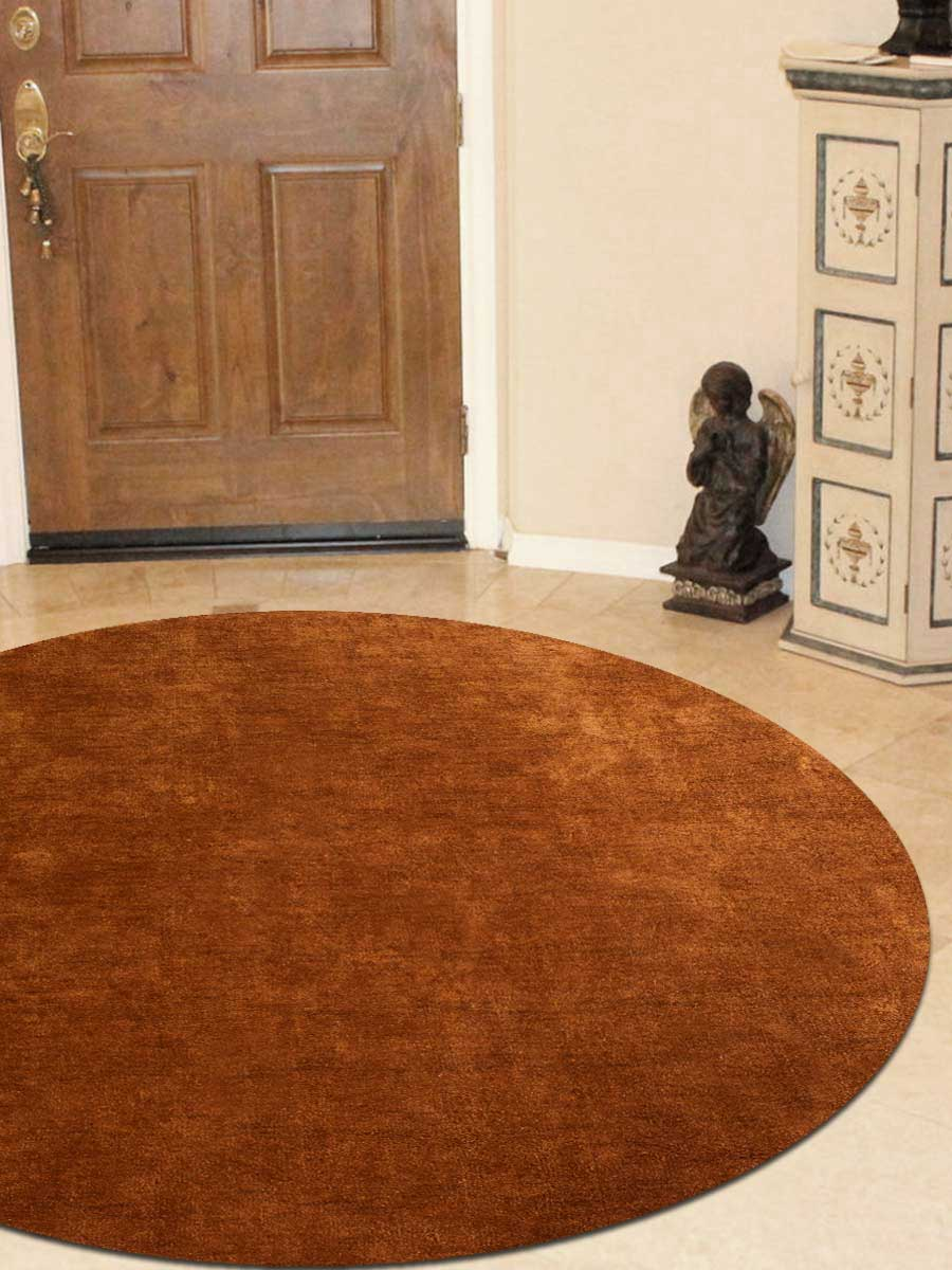 "Hand Knotted Gabbeh Silk 8"" x 8""Round Area Rug"