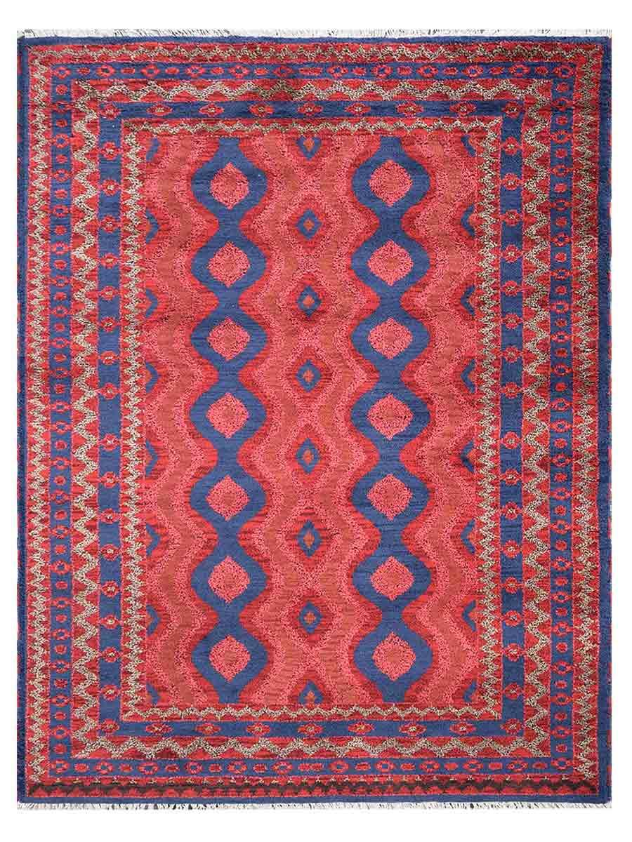 Afghan Wool & Silk Rectangle Rug